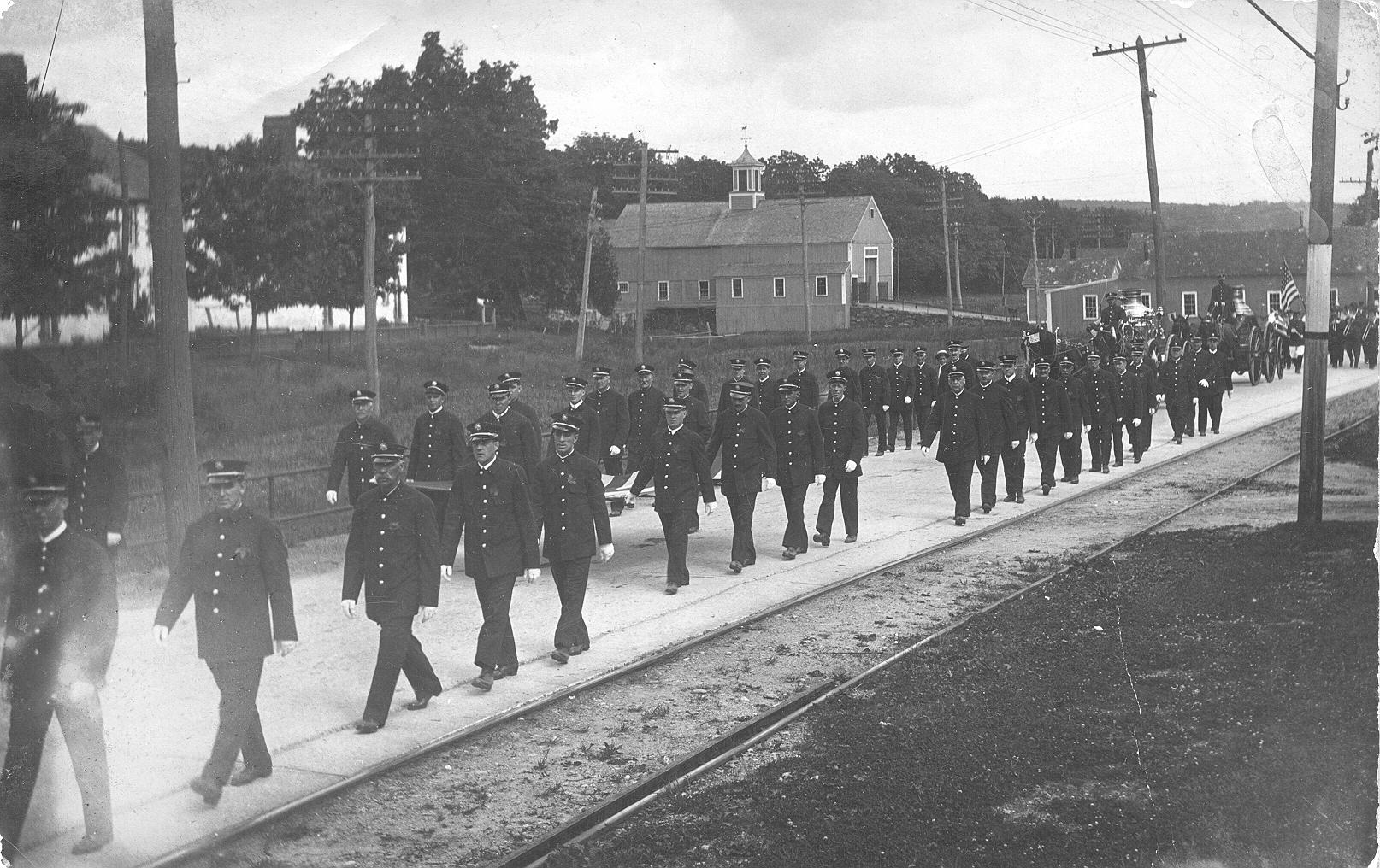 Thompson Firemen in 1919 Parade celebrating the end of World War I, Grosvenordale, CT