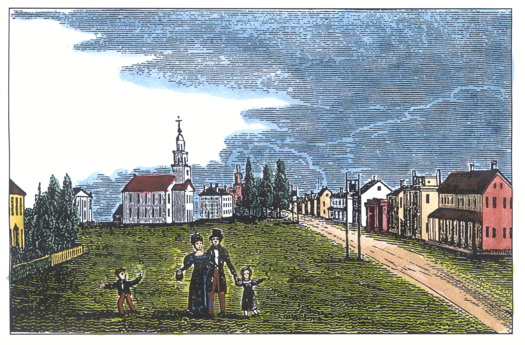 1836 Barber print of Thompson Hill with modern colorization