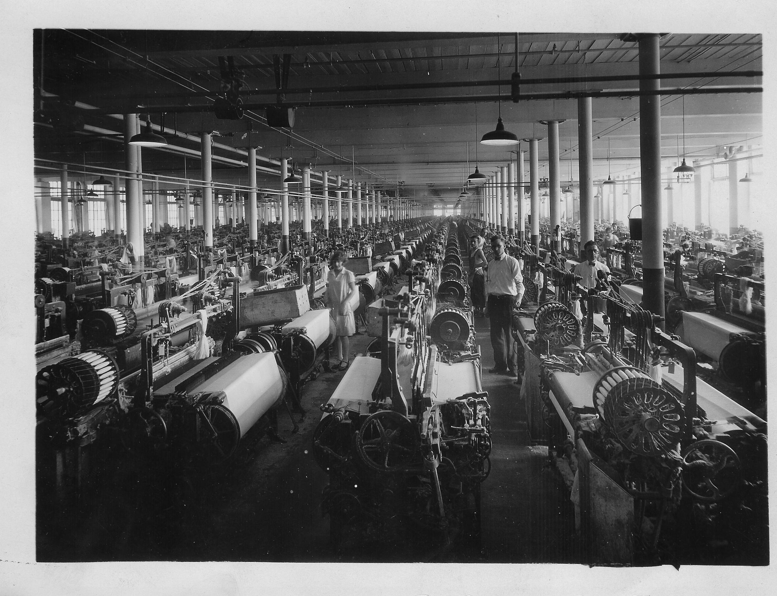 Grosvenor-Dale Company Mill Built 1872 in North Grosvenordale CT, Interior View 1928